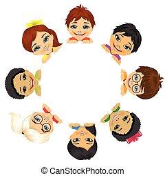 multi, grupo, crianças, étnico