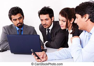 multi, grupo, empresarios, racial, reunión
