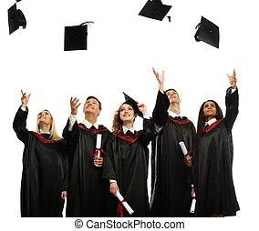 multi, grupo, estudiantes, sombreros, aislado, joven,...