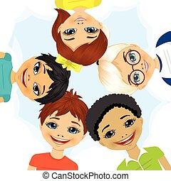multi, grupo, formando, étnico, círculo, crianças