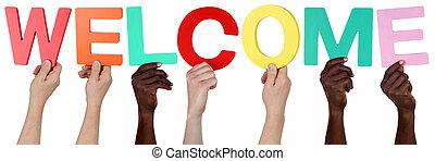 multi, grupo, gente, bienvenida, tenencia, étnico, palabra