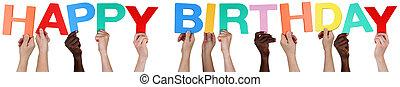 multi, grupo, gente, cumpleaños, tenencia, étnico, palabra,...