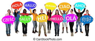 multi, grupo, gente, joven, discurso, tenencia, étnico, ...