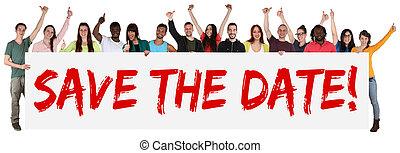 multi, grupo, gente, joven, señal, tenencia, étnico, fecha, ...