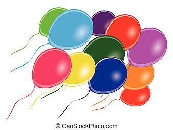 multi, gruppo, colorato, -, vettore, palloni