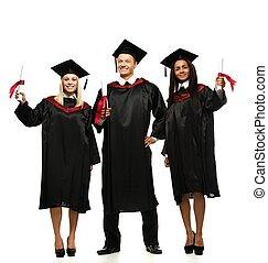 multi gruppo etnico, di, laureato, giovane, studenti,...