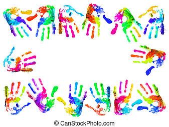 multi, handprints, coloreado