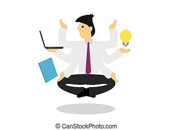 Multi hands businessman guru floating in the air. Concept of corporate multitasking or a business expert.