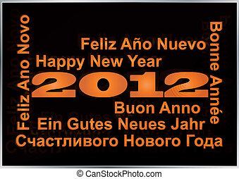 multi, langua, rok, nowy, szczęśliwy, 2012