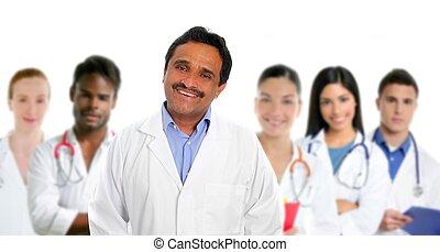 multi, latin, docteur, indien ethnique, compétence, médecins