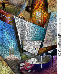 Multi Layered abstract composition. 3D rendering