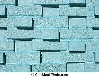 multi-layered, blauwgroen, baksteen muur