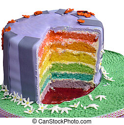 Birthday cake with many coloured layers