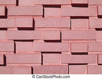 multi-layered, rózsaszínű, festett, wa, tégla