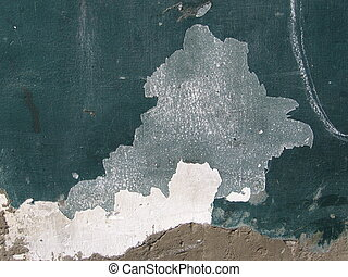 Multiple layers of flaking stucco in teal, brown, and white