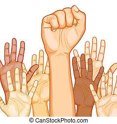 multi, levantado, racial, manos