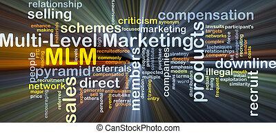 multi-level, begriff, marketing, mlm, glühen, hintergrund
