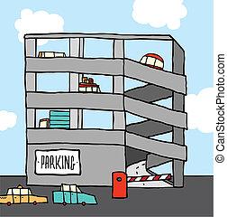 multi-level, estacionamento, caricatura, garagem