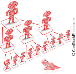 Multi level marketing pyramid - group of vector people...