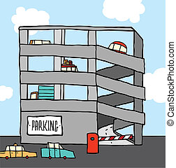 multi-level, stationnement, dessin animé, garage