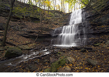 Multi-level waterfall - Waterfall with 3 levels falling into...