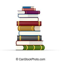multi, libri, pila, colorato