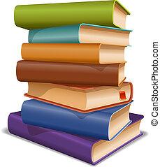 multi, libros, coloreado