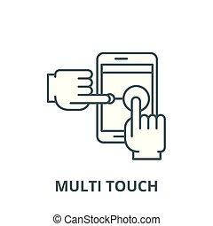 multi, linéaire, toucher, concept, symbole, signe, vecteur,...