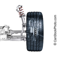 Multi link front car suspension, with brake. frontal view. ...