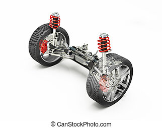 Multi link front car suspension, with brakes and wheels. -...