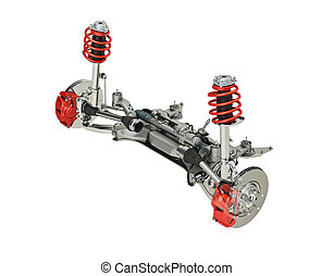Multi link front SUV car suspension, with brakes. 3D...