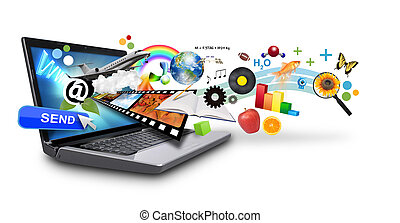 multi, mídia, internet, laptop, com, ob