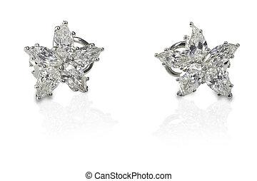 Multi Marquise Diamond stud earrings isolated on a white...