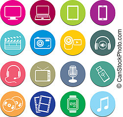 multi-media, rotondo, icona, serie