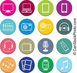 multi-media, runda, ikon, uppsättningar