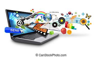 multi, medios, internet, computador portatil, con, ob