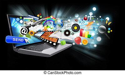 multi, medios, internet, computador portatil, con, objetos, en, negro