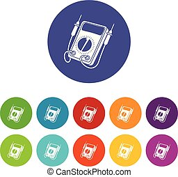 Multi meter icons color set vector for any web design on white background