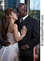 multi, moderno, pareja, racial, atractivo