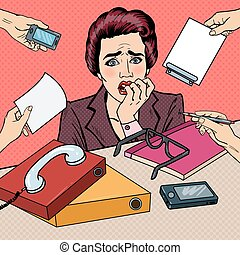 multi, mujer, arte, ella, empresa / negocio, nervioso, oficina, work., dedos, ilustración, vector, tasking, taponazo, morder