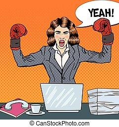multi, mujer, arte, oficina, empresa / negocio, boxeo, ilustración, work., vector, guantes, taponazo, tasking