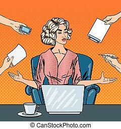 multi, mujer, arte, oficina, empresa / negocio, computador portatil, work., ilustración, vector, tasking, taponazo, enfatizado