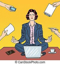 multi, mujer, arte, oficina, empresa / negocio, computador portatil, work., ilustración, vector, tasking, taponazo, maditating, tabla