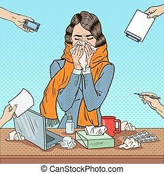 multi, mujer, arte, oficina, empresa / negocio, estornudar, ilustración, work., vector, tasking, taponazo