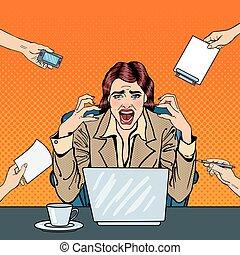 multi, mujer, arte, oficina, empresa / negocio, frustrado, work., ilustración, vector, tasking, taponazo, enfatizado, estridente