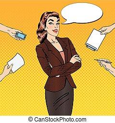 multi, mujer, arte, oficina, empresa / negocio, work., ilustración, confiado, vector, tasking, taponazo
