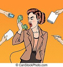 multi, mujer, arte, oficina, empresa / negocio, work., ilustración, teléfono, vector, tasking, taponazo, agresivo, estridente