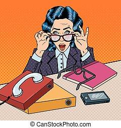 multi, mujer, arte, oficina, empresa / negocio, work., ilustración, vector, tasking, taponazo, enfatizado