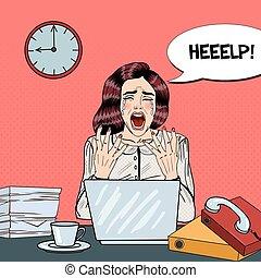 multi, mujer, arte, oficina, empresa / negocio, work., ilustración, vector, tasking, taponazo, llanto, enfatizado, estridente