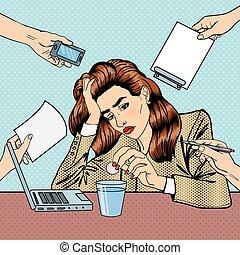 multi, mujer, arte, oficina, empresa / negocio, work., ilustración, vector, tasking, taponazo, bebida, píldoras